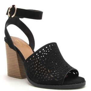 Shoes - Black Perforated Wood Sandals